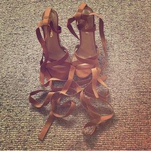 Shoes - Vici brown tie up heel